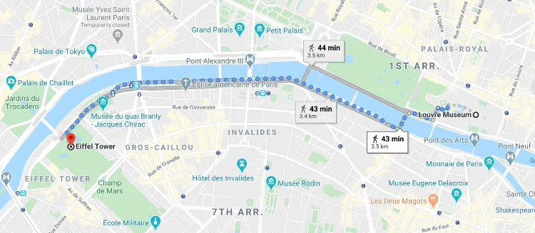 Walking from Louvre to Eiffel Tower