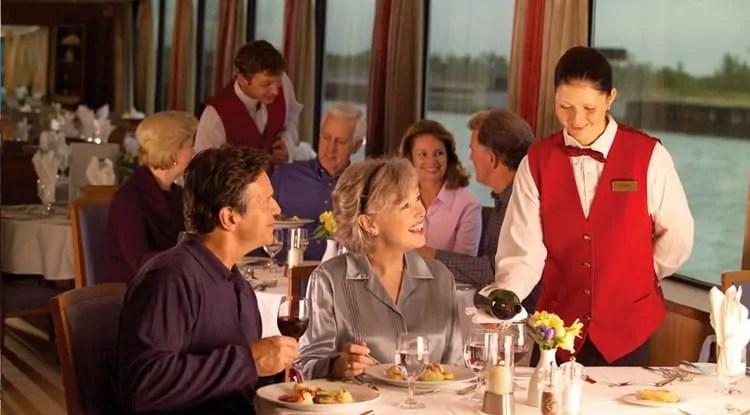 Tourists on Seine River Dinner cruise
