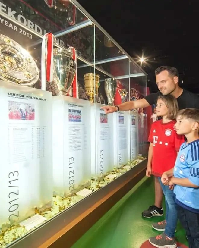 Visiting FC Bayern Museum with kids