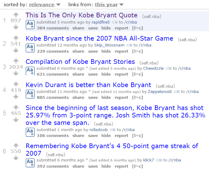 "This search for ""Kobe Bryant"" turned up dozens of interesting talking points."