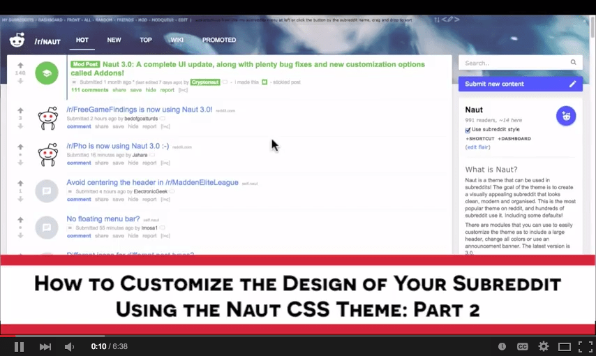 Customize Your Subreddit Design with Naut – Part 2: Customizing Naut