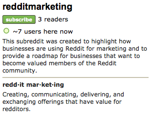 A Subreddit for Discussing Reddit Marketing