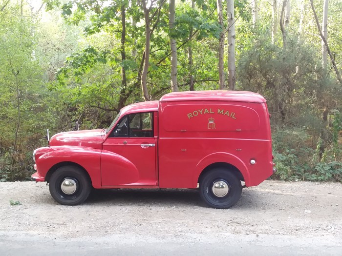 Morris Minor postal van by the roadside