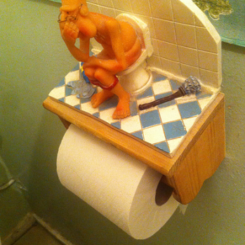 Best loo roll sheath so far Bruno's house is wonderland of eclectic trinkets and paraphernalia - mainly dog-related, but occasionally involving naked men too.