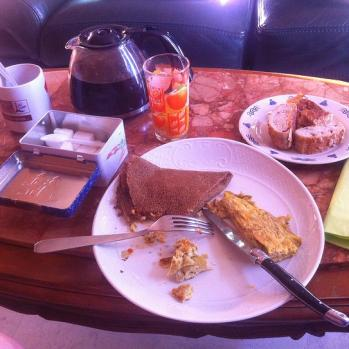 Breakfast of champions Omelette, cheesy pancake, sweet breads, freshly squeezed orange juice, real coffee. Sets me up up until dinner.