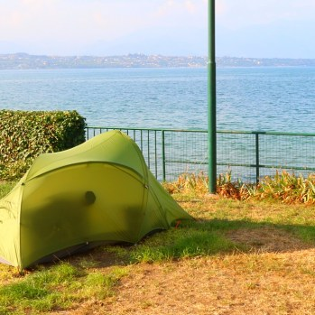 Lovely, peaceful spot in campsite by Lake Garda - one of the highlights of Italy.