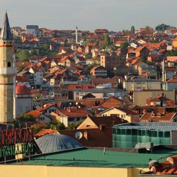 View of Pristina old town (what little remains) from my hosts' balcony.