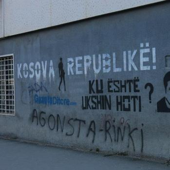 Graffiti in Pristina, the Kosovan capital. It reads: 'Where is Ukshin Hoti?' Hoti is a professor of law and philosophy, and a leading political activist, who disappeared in prison in 1999 after serving a five-year sentence for 'endangering the public order of Serbia'. Many activists believe he was killed.