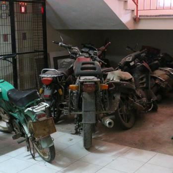 Motorbike mausoleum under stairs in police station. If I could just get one up and running, the next 7,000km would be a whole lot easier.