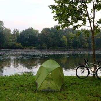 Campsite in Otocec, Slovenia, where I am forced to engage in a little light breaking-and-entering after dark.
