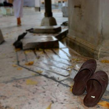 Shoes outside mosque.