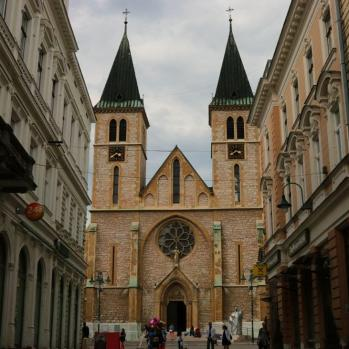 The Sacred Heart Cathedral in Sarajevo, built in 1889 and believed to be the largest cathedral in the country. It has become a symbol of the city, despite Sarajevo being predominantly Muslim.