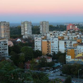 Comecon blocks & sunset, from the top of Nebet (lookout) hill in Plovdiv.