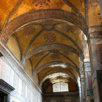 The striking interior of the Hagia Sophia.