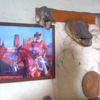Walls lovingly decorated with Putin-esque horseriding pics and stuffed fish.