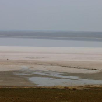 Lake Tuz (Salt Lake) in the flat, dry plains of central Turkey, the second largest lake in the country and one of the largest salt lakes in the world.