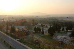 View of town from balcony. Quite pretty in dewy dawn light.