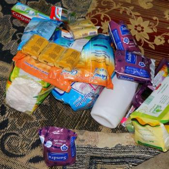 'We were promised food supplies and given cleaning equipment.'