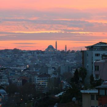 Salmon skies framing the Sultan Ahmed (Blue) Mosque.