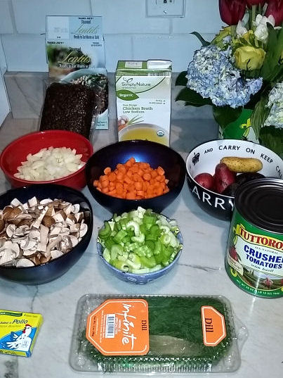 ingredients for vegetable lentil soup