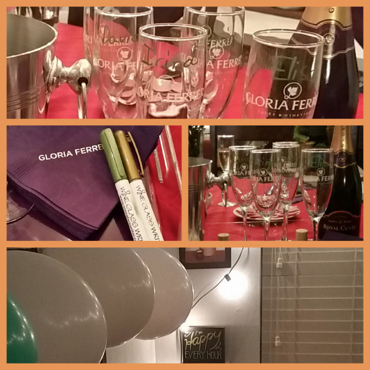 write the names of your guests on wine glasses with erasable marker.