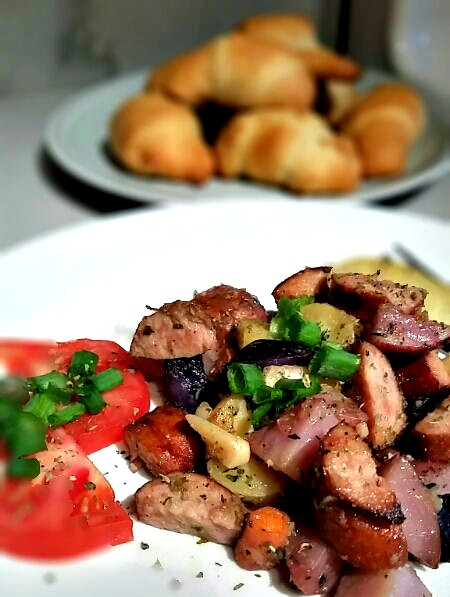 Oven Roasted Smoked Sausage and Potatoes recipe