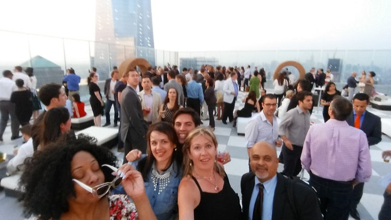 on 57th floor rooftop 4wtc with friends and selfie stick