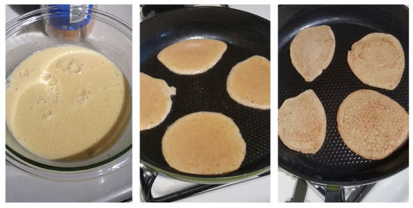 no-carb pancakes on the pan
