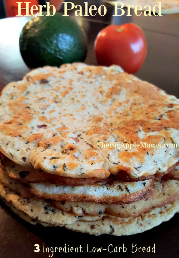 Herb Paleo Bread with only 3 Ingredients, Low Carb
