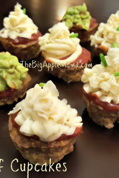 Meatloaf Cupcakes with Mashed Potato Frosting and Guacamole Frosting