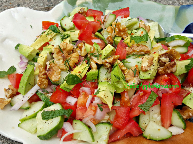 tomato cucumber avocado walnut salad