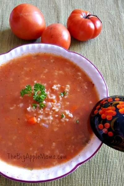 One Pot Tomato Rice Soup