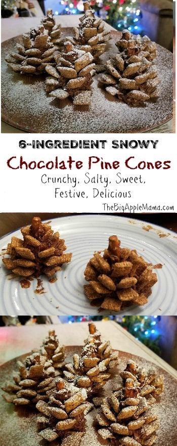 Best 6-Ingredient Snowy Chocolate Pine Cones. Crunchy, Salty, Sweet, Festive, Delicious.