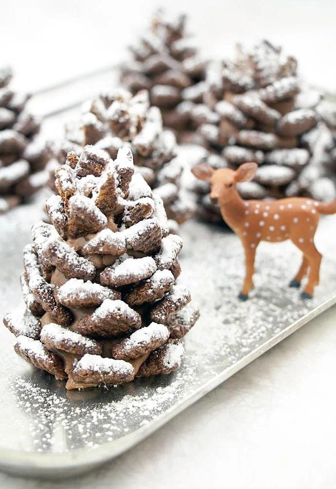Chocolate crunchy pine cones - Easy, Quick and festive recipe