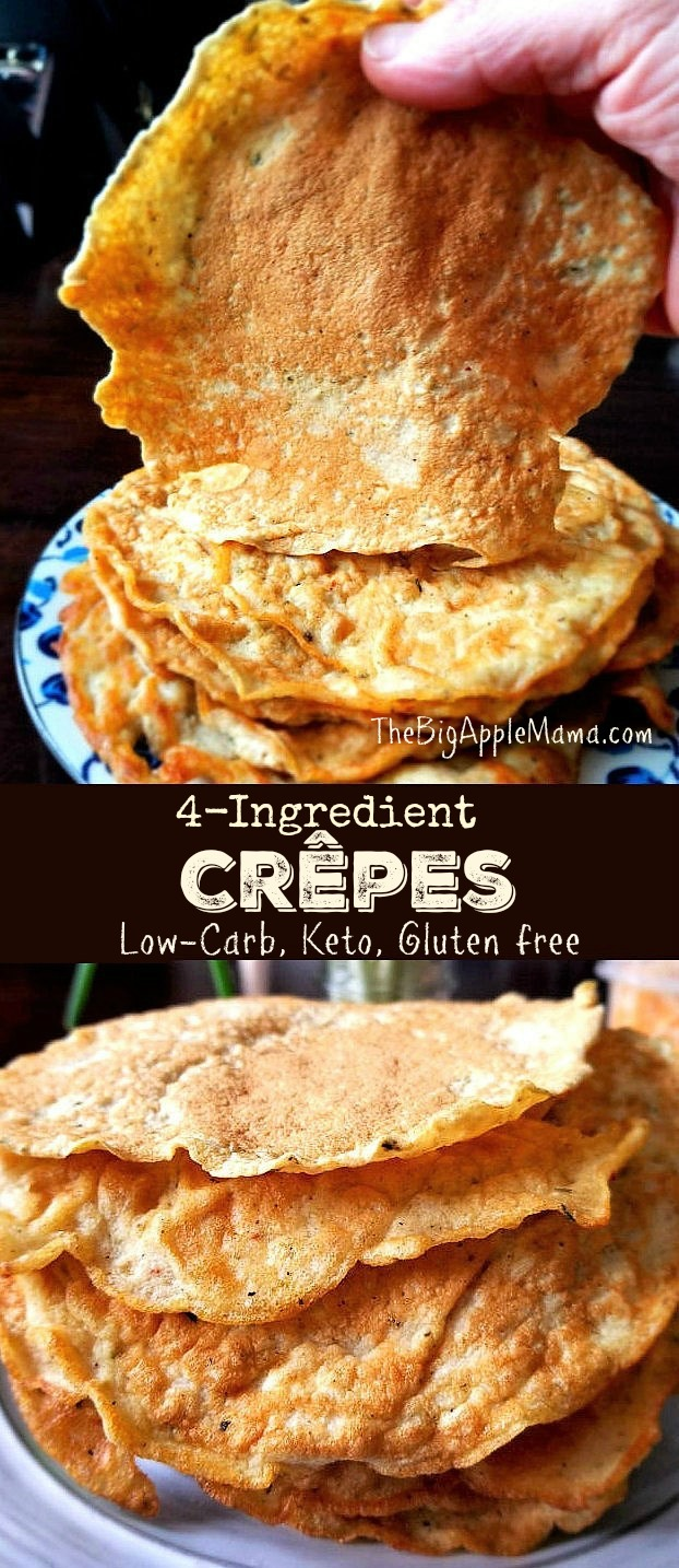 4-Ingredient Crepes or Wraps. Low-Carb, Keto, Gluten free. Made with Coconut flour
