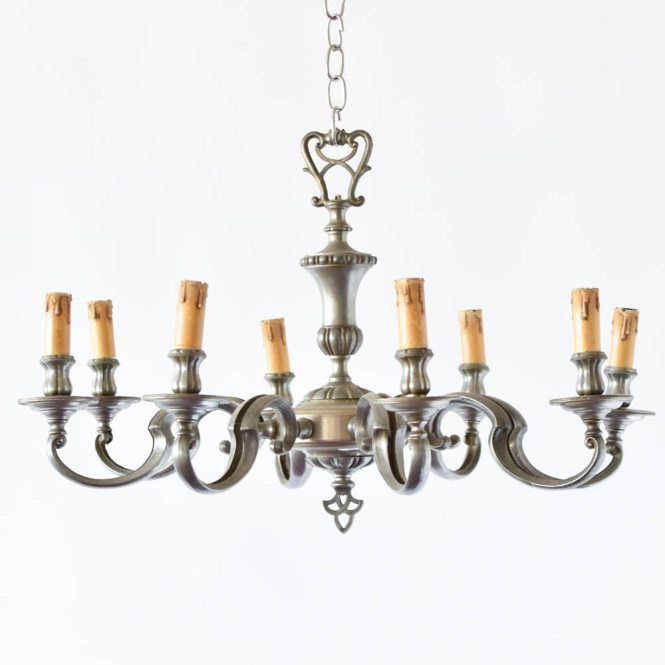 Colonial Style Pewter Chandelier