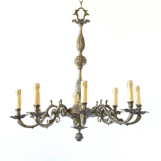 Large Bronze Chandelier French With Roccoco Arms