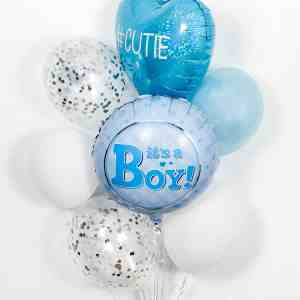 It's a boy deluxe balloons (foil balloon, three latex balloons, two confetti balloons, heart shape balloon) by The Big Flower Bouquet