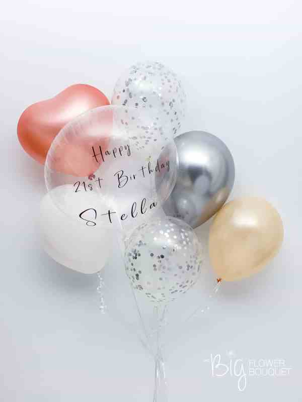 Custom Deluxe Balloons (one custom message on clear balloon, three latex balloons, two confetti balloons, heart shape balloon) by The Big Flower Bouquet