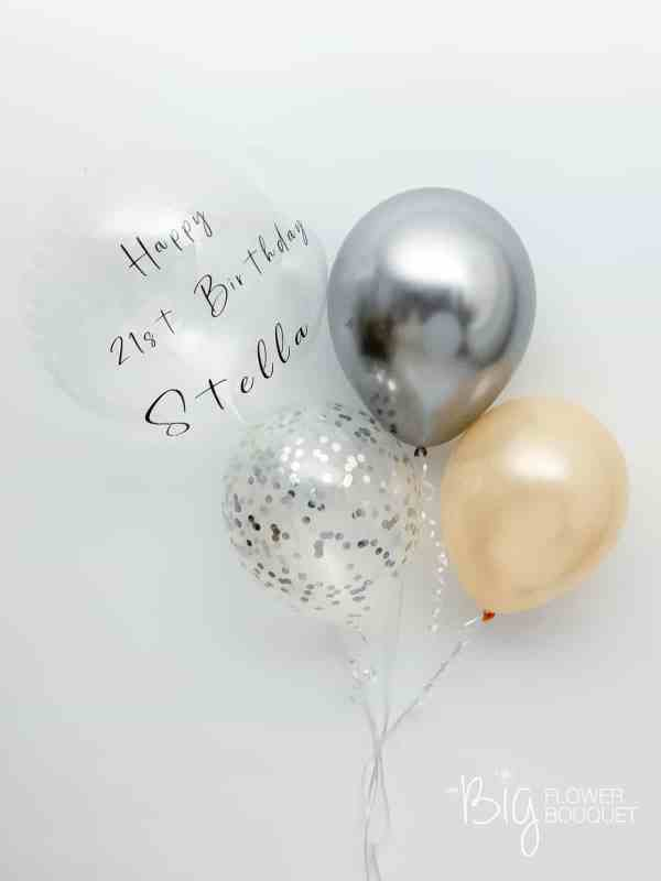 Custom Premium Balloons (one custom message on clear balloon, two latex balloons, confetti balloon) by The Big Flower Bouquet