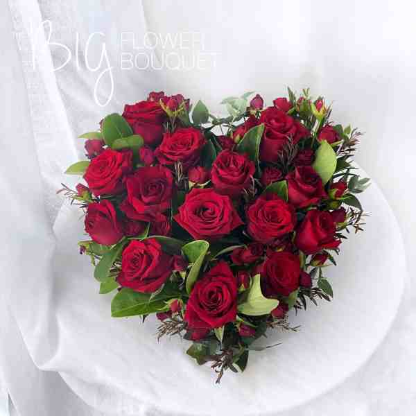 The Big Flower Bouquet - Valentine's Day Red Roses Heart