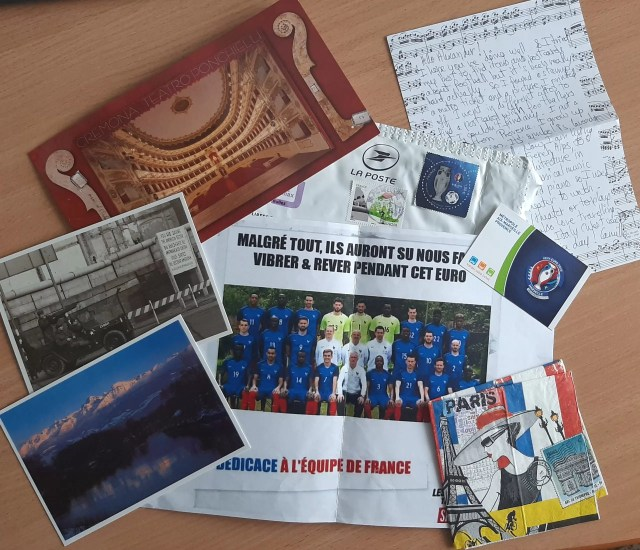 This envelope came from France.  Camille met all my needs, namely, postcards of theater, nature, a black and white postcard including a poster of the French national soccer team and a number of other surprises.