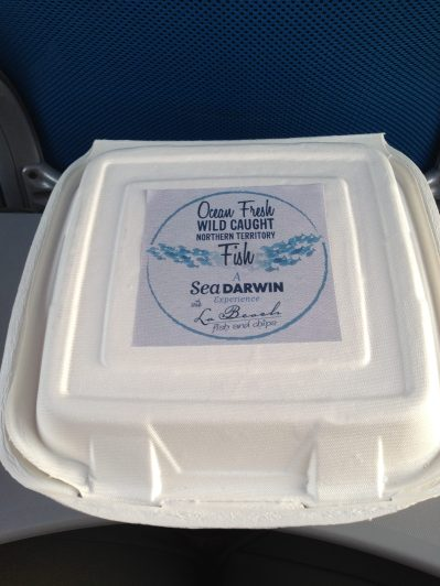 So the fish is local (and cooked local at Cullen Bay) the potatoes were from the south of Oz and the packaging - thanks to the sugar cane industry in Qld!!! Completely biodegradable!!