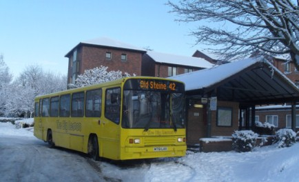 A route 42 bus braves the weather at the University of Sussex last winter