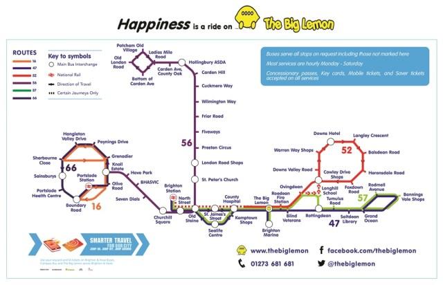 The BIg Lemon Brighton Bus Route Map 2017