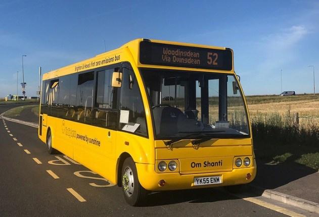 Brighton's solar electric bus preparing for the next trip to Woodingdean