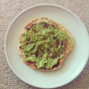 Grain free flatbread with avocado and vegemite