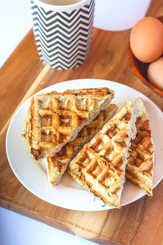Gluten Free Cheddar and Garlic waffles which are #glutenfree #highprotein and #grainfree- A delicious, savoury twist on the classic! -thebigmansworld.com