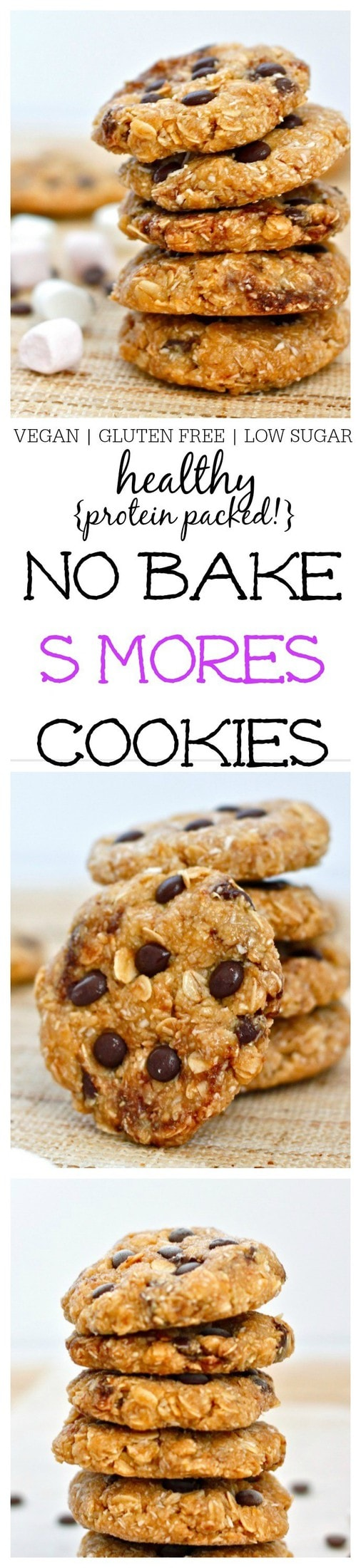 Healthy No Bake S'mores Cookies- Soft and chewy cookies which take 10 minutes to whip up- Vegan, GF + chock full of protein! @thebigmansworld - thebigmansworld.com