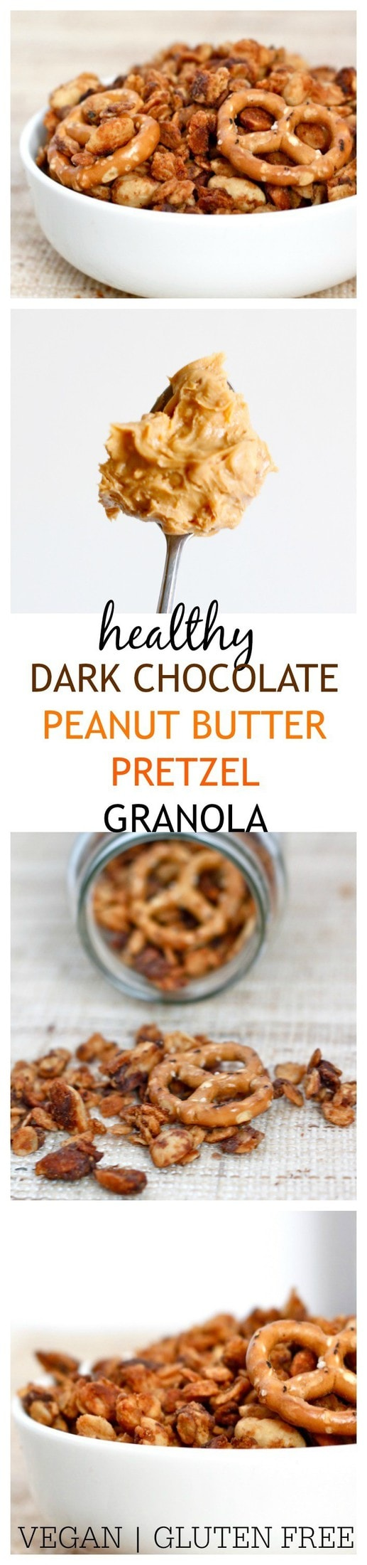 Healthy Dark Chocolate Peanut Butter Pretzel Granola- Dark chocolate, peanut butter and pretzels get married in this delicious and healthy granola! Perfect for snacking or breakfast, it's vegan, dairy free, gluten free and made with no butter, oil or unnecessary fats!  @thebigmansworld - thebigmansworld.com